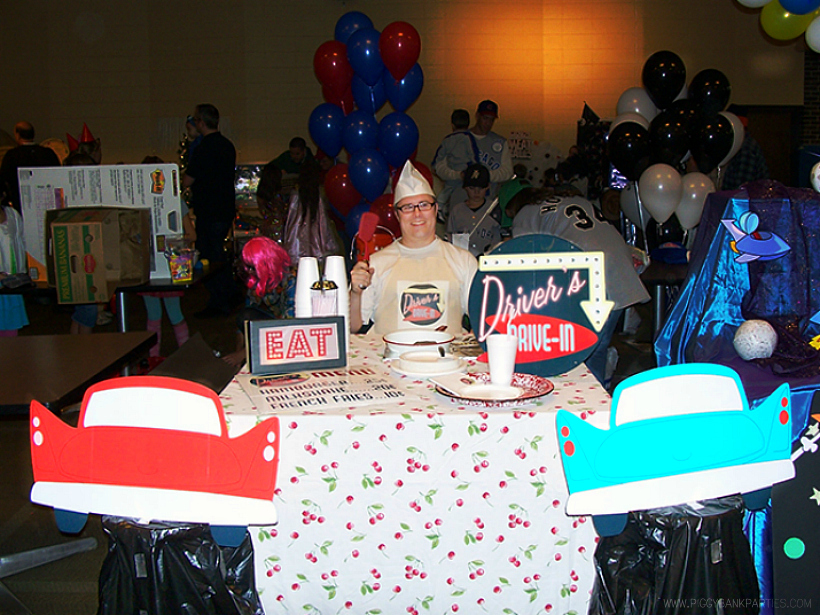 Driver's Drive-In Trunk or Treat by Piggy Bank Parties | Trunk or Treat Idea | Halloween Trunk or Treat | Turn your trunk into a Fifties Drive-in for Halloween!