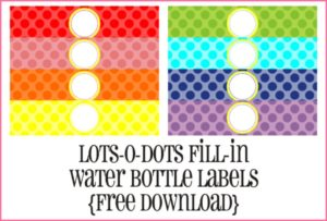 Lots-O-Dots Water Bottle Labels by Piggy Bank Parties