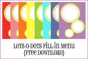 Lot-O-Dots Fill-In Menu