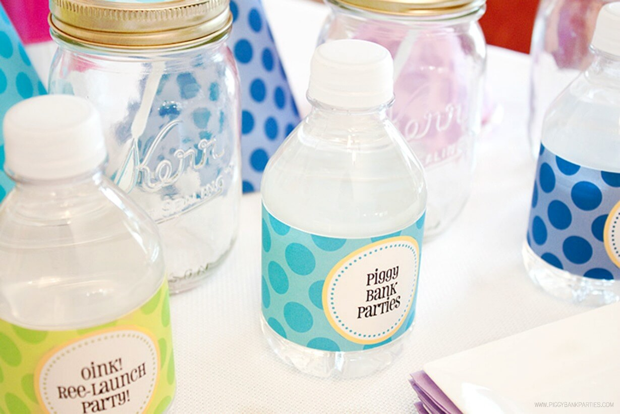 Free Printable Water Bottle Labels by Piggy Bank Parties