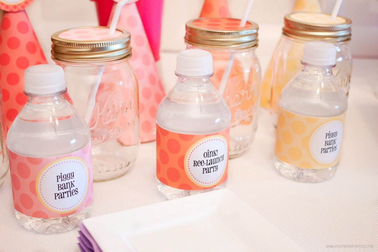Lots of Dots Water Bottle Labels by Piggy Bank Parties