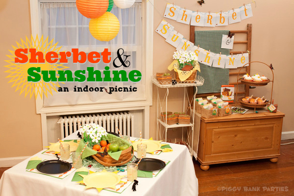 Piggy Bank Parties Sherbet-n-Sunshine Indoor Picnic