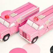 Piggy Bank Parties Firetruck Favor Box Pink