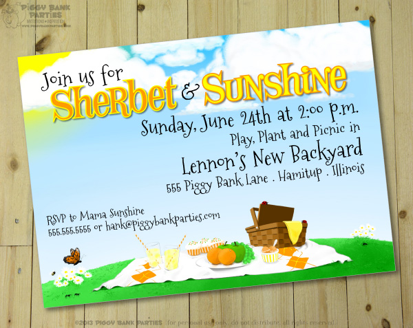 Piggy Bank Parties Sherbet-n-Sunshine Invitation