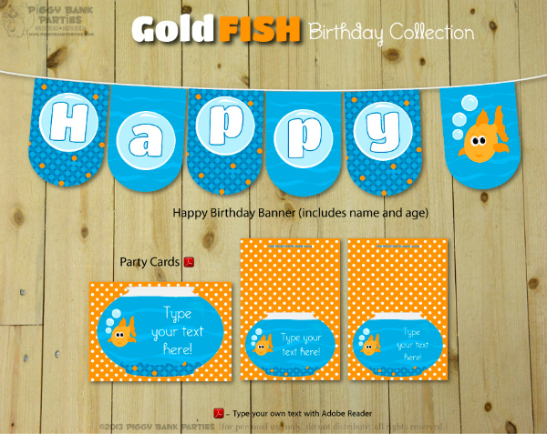 Piggy Bank Parties Goldfish Birthday Collection 1