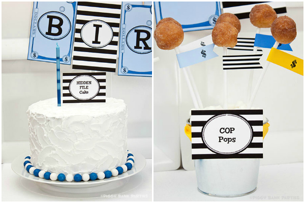 Piggy Bank Parties Hide File Cake and Cop Pops