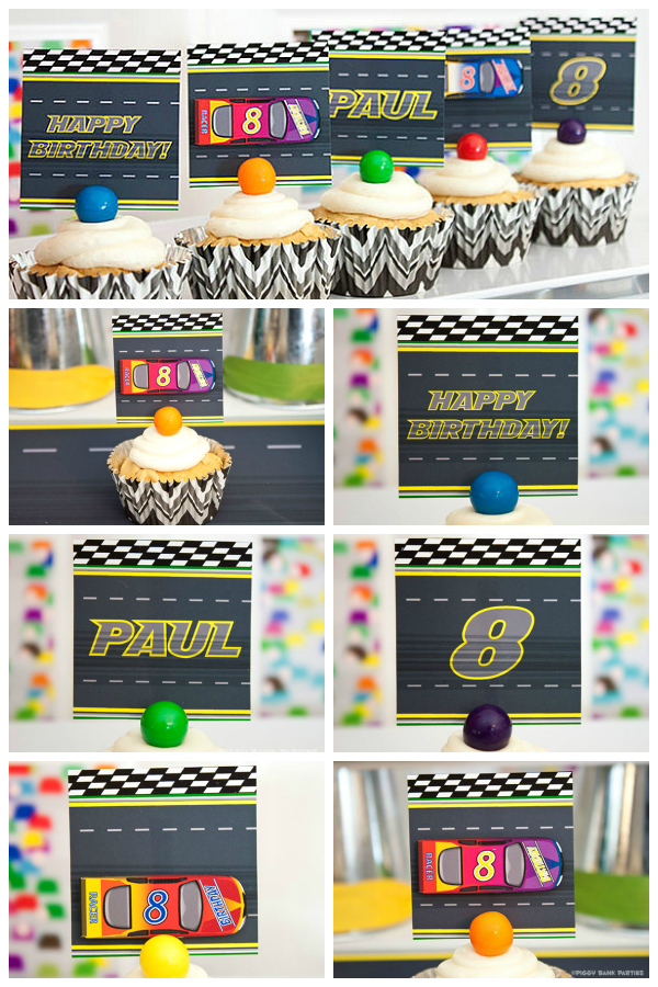 Piggy Bank Parties Stock Car Lil Party Tags