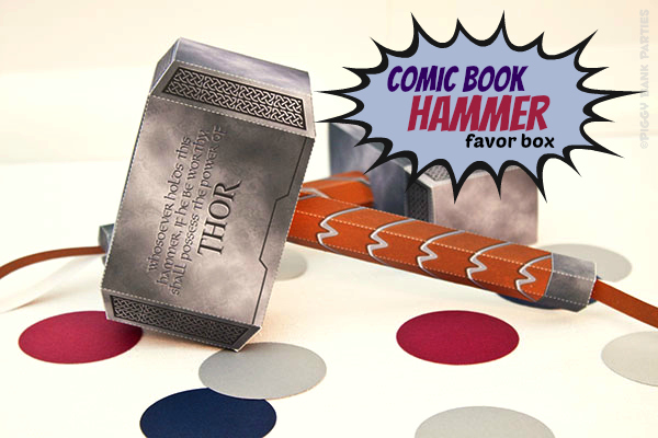 Piggy Bank Parties Comic Book Hammer Favor Box1