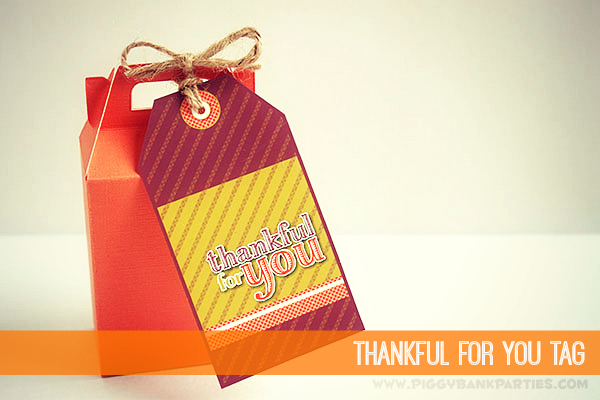 Piggy Bank Parties Thankful For You Tag