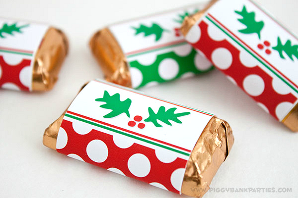 Piggy Bank Parties Holly-n-Dots Mini Bar Wrappers 2