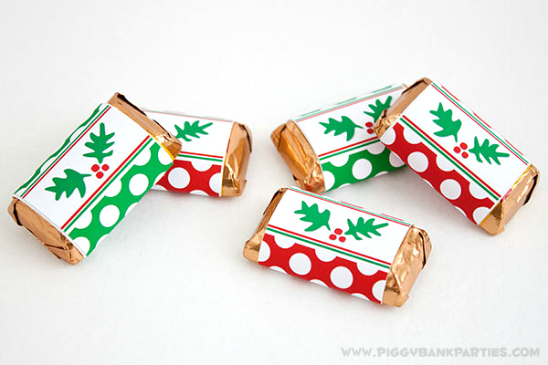 Piggy Bank Parties Holly-n-Dots Mini Bar Wrappers 3