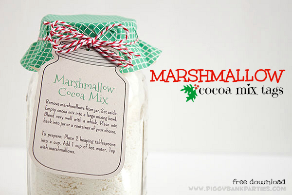 Piggy Bank Parties Marshmallow Cocoa Mix Tag