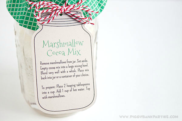 Piggy Bank Parties Marshmallow Cocoa Mix Tag3