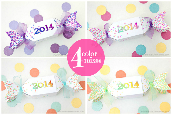 Piggy Bank Parties New Years Eve Favor Box - 4 Color Mixes