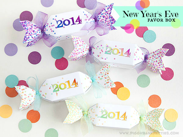 Piggy Bank Parties New Years Eve Favor Box Graphic