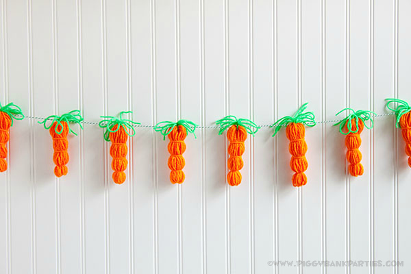 Piggy Bank Parties DIY Yarn Carrot Garland 1