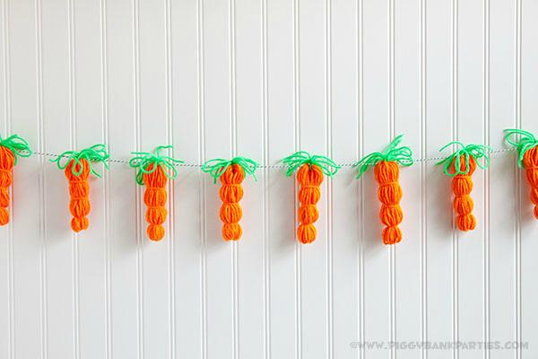 Piggy Bank Parties DIY Yarn Carrot Garland 1