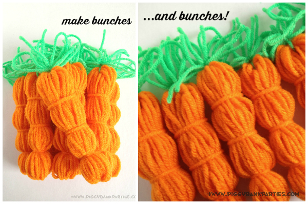 Piggy Bank Parties Yarn Carrot Garland 13