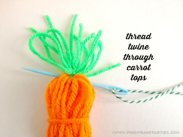 Piggy Bank Parties Yarn Carrot Garland -Thread Twine Carrot Tops