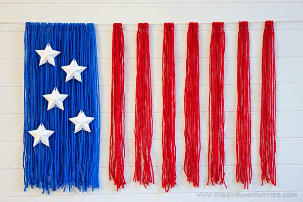 Piggy Bank Parties American Flag Yarn Backdrop 2