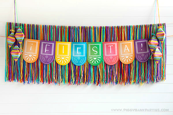 Piggy Bank Parties Fiesta Garland Backdrop 1