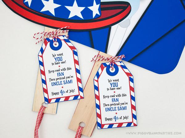 Piggy Bank Parties Uncle Sam Fan - Tag