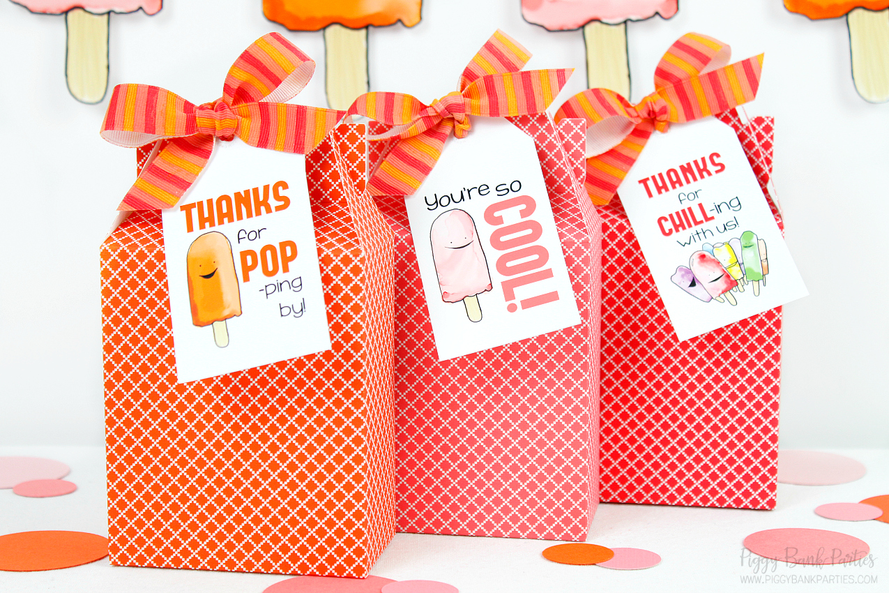 Refreshing Frozen Pop Tags and Gift Ideas | Free Download from Piggy Bank Parties