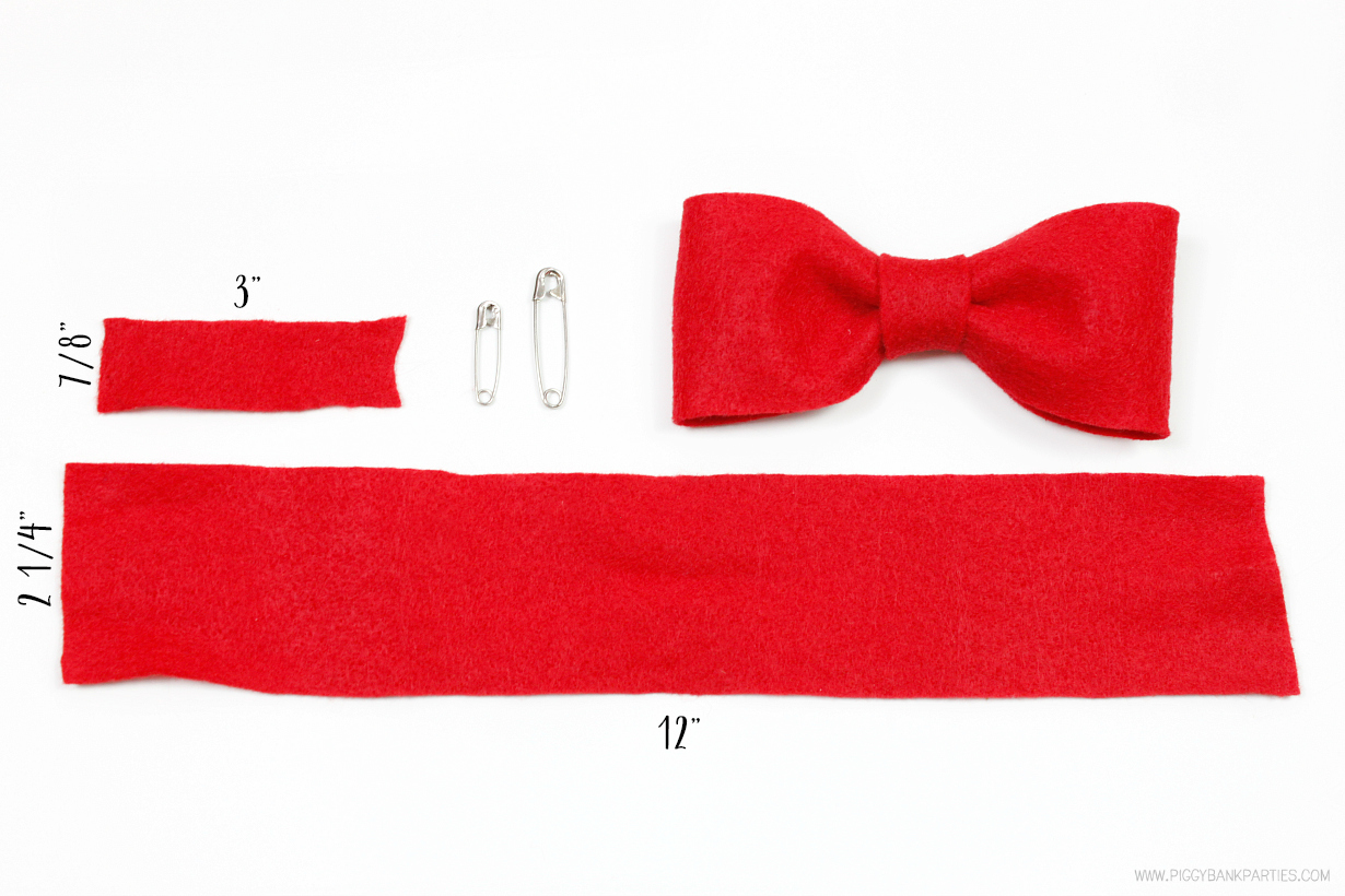The 5-Minute No-Sew Bow Tie by Piggy Bank Parties   Felt Bow Tie Tutorial   Quick and Easy Bow Tie   Make this no-sew bow tie in less than 5 minutes!