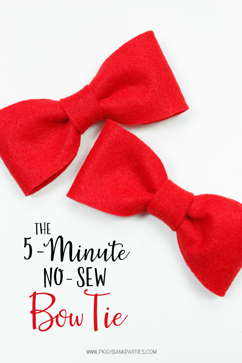 The 5-Minute No-Sew Bow Tie by Piggy Bank Parties | Felt Bow Tie Tutorial | Quick and Easy Bow Tie | Make this no-sew bow tie in less than 5 minutes!