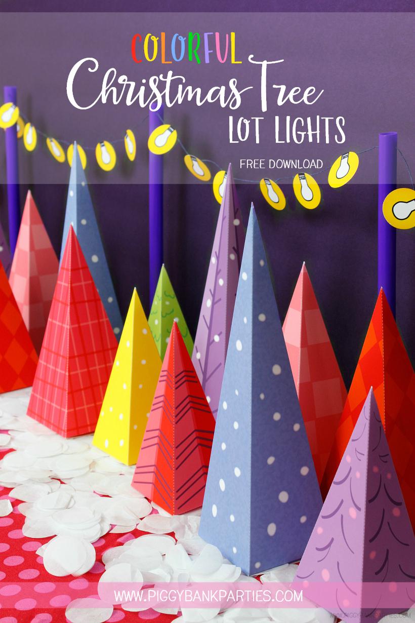 Colorful Christmas Tree Lot Lights by Piggy Bank Parties   Free Download   Christmas Decoration   DIY Printable   Advent Calendar   Christmas Tree Favor Box   Christmas Favor Idea   Charlie Brown Christmas Tree
