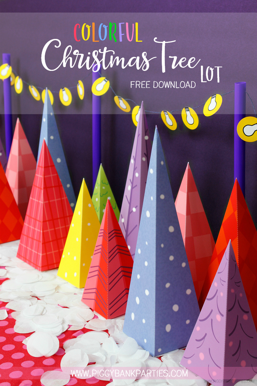 Colorful Christmas Tree Lot by Piggy Bank Parties | Free Download | Christmas Decoration | DIY Printable | Advent Calendar | Christmas Tree Favor Box | Christmas Favor Idea | Charlie Brown Christmas Tree