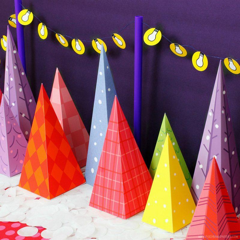Colorful Christmas Tree Lot Lights by Piggy Bank Parties | Free Download | Christmas Decoration | DIY Printable | Advent Calendar | Christmas Tree Favor Box | Christmas Favor Idea | Charlie Brown Christmas Tree