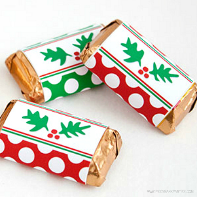 Holly-n-Dots Mini Bar Wrappers by Piggy Bank Parties