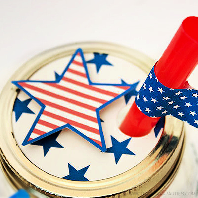 Americana Jar Lids by Piggy Bank Parties