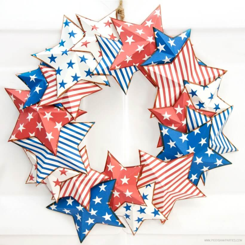 Americana Star Wreath by Piggy Bank Parties