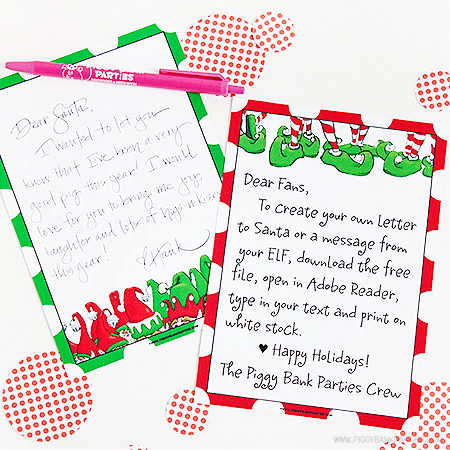 Christmas Elf Letter by Piggy Bank Parties