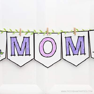 Color Your Own Mom Banner by Piggy Bank Parties