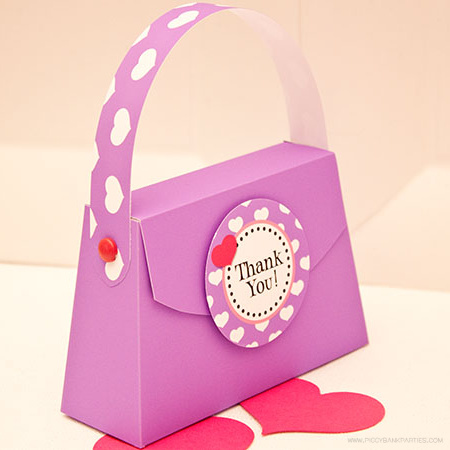 Purse Favor Box Template by Piggy Bank Parties