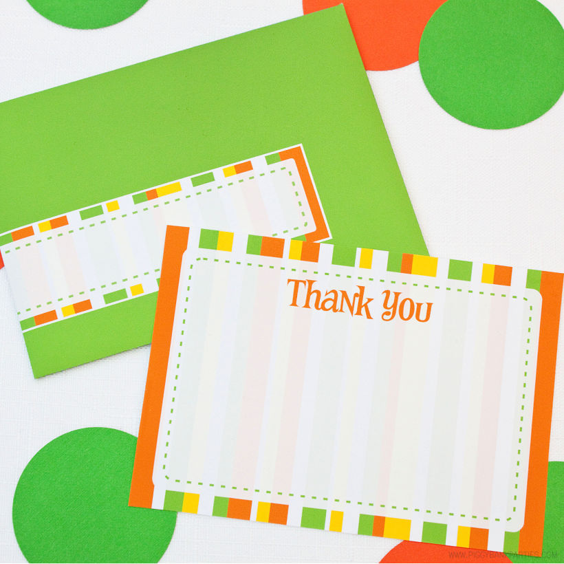 Sherbet Thank You Note Set by Piggy Bank Parties