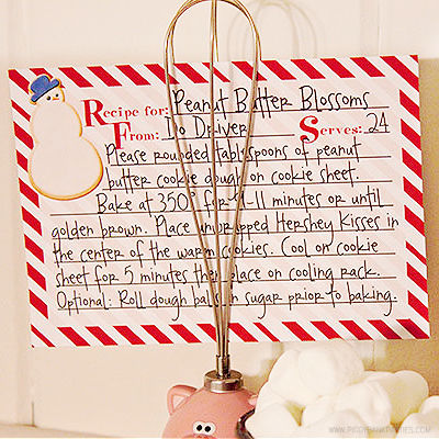Snowman Recipe Card by Piggy Bank Parties