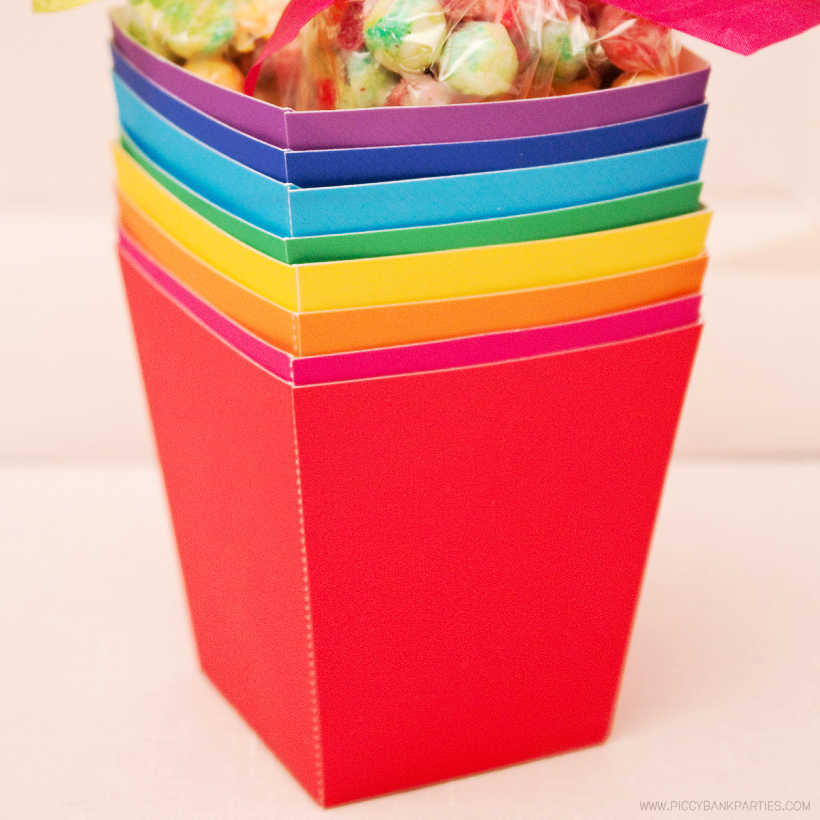 Solid Treat Boxes by Piggy Bank Parties