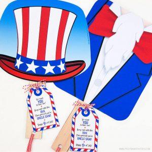 Uncle Sam Fan + Favor Tag by Piggy Bank Parties